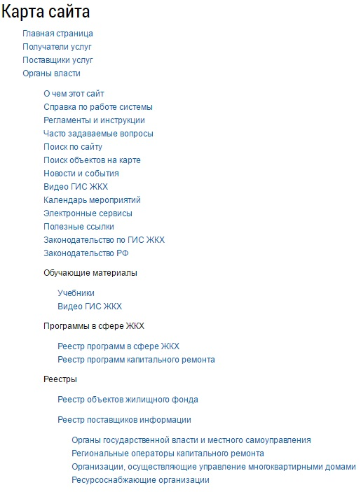 """Раздел """"Карта сайта"""" в ГИС ЖКТ"""
