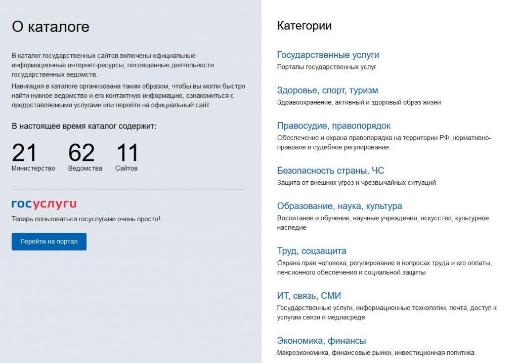 Каталог Госсайтов